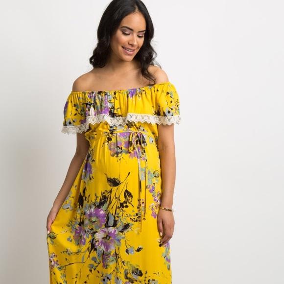 58e85ee4667 Floral Off Shoulder Maternity Maxi Dress. M 5c6b8a5fa5d7c63b27b7e495